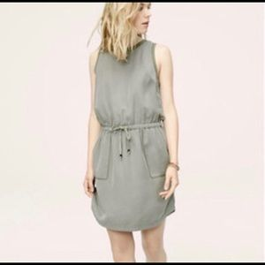 Lou & Grey Army Green Cinch Waist Dress Pockets